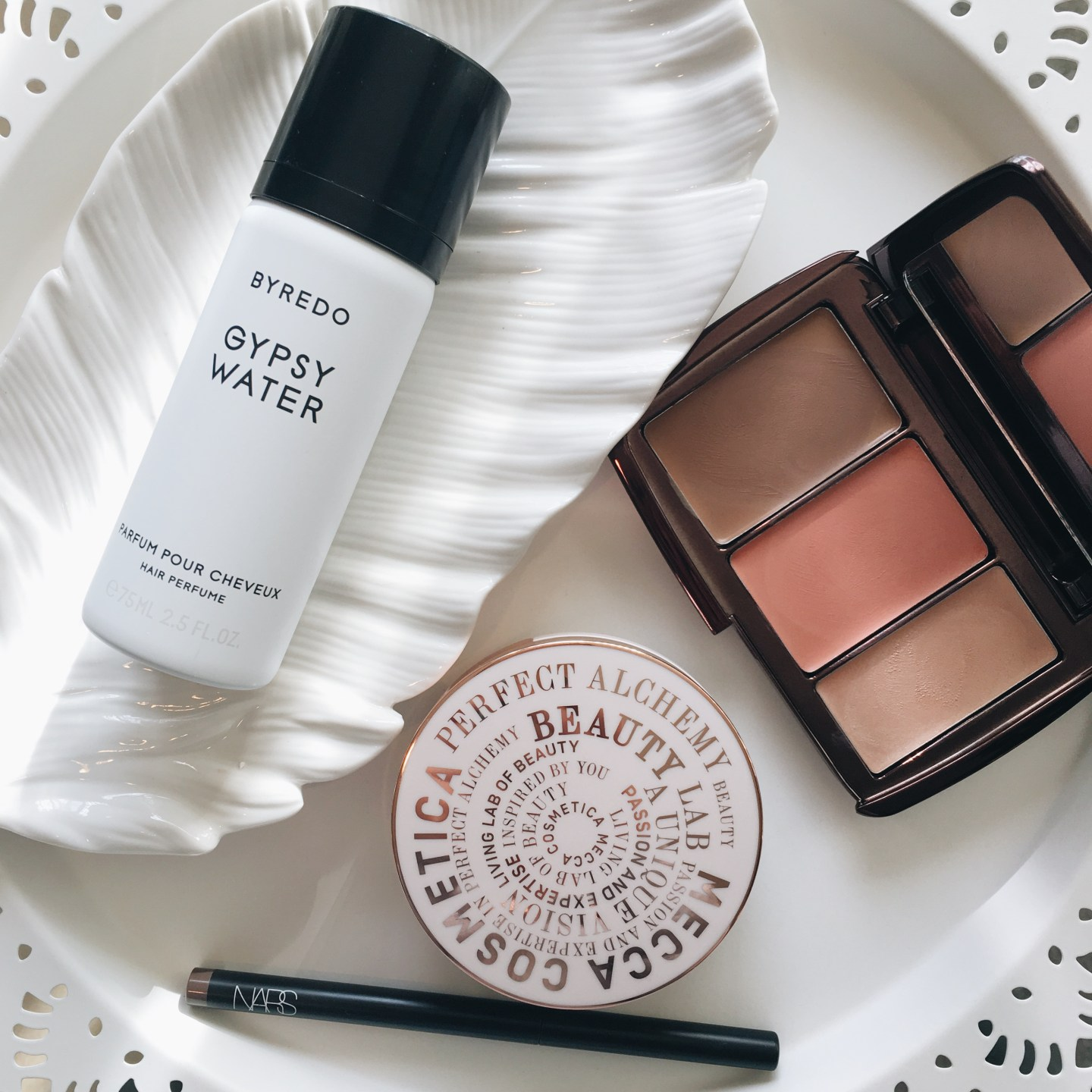 Byredo Gypsy Water Hair Perfume | Hourglass Ilume Sheer Colour Trio | Nars Brow Perfector | Mecca Cosmetica In A Great Light Compact