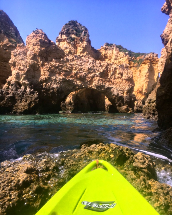 In the Algarve? Visiting the Ponta da Piedade is a must! And Kayaking through emerald water, along towering cliffs is the best way to view it!