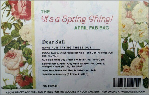 April Fab bag 2016 Card