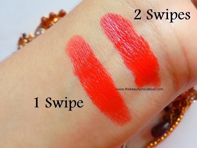 Coloressence Premia Lipstick 211 Bombshell Swatches