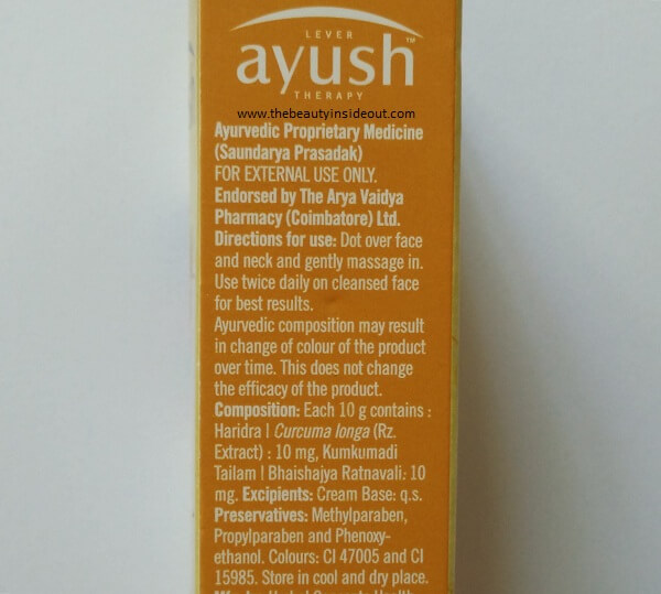 Lever Ayush Anti Marks Turmeric Face Cream Ingredients