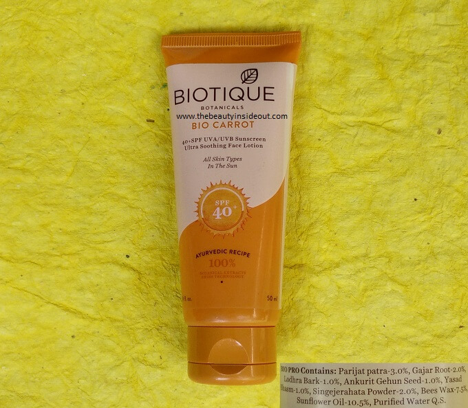 Biotique Bio Carrot Ultra Soothing Face Lotion SPF 40+ UVA UVB