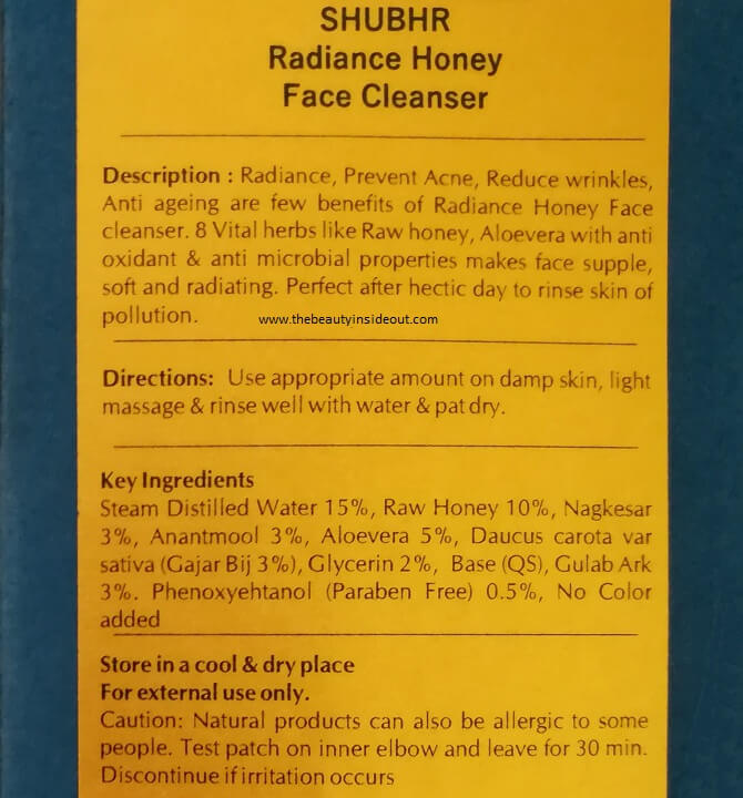 Blue Nectar Shubhr Radiance Honey Face Cleanser Ingredients