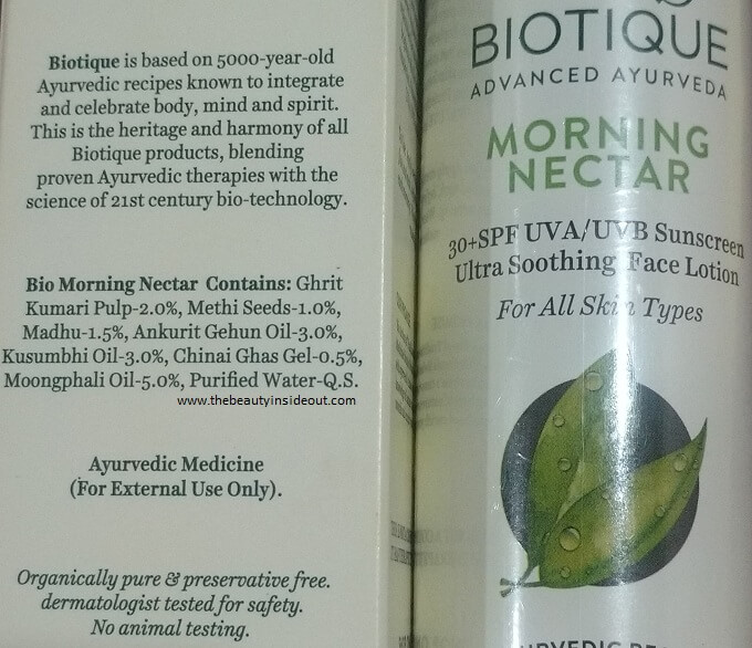 Biotique Bio Morning Nectar Ultra Soothing Face Lotion SPF 30 Ingredients