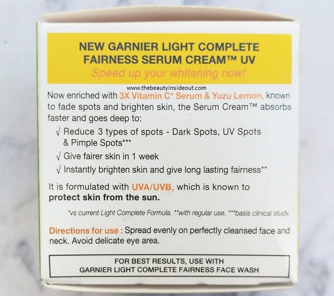 Garnier Light Complete Serum Cream Claims