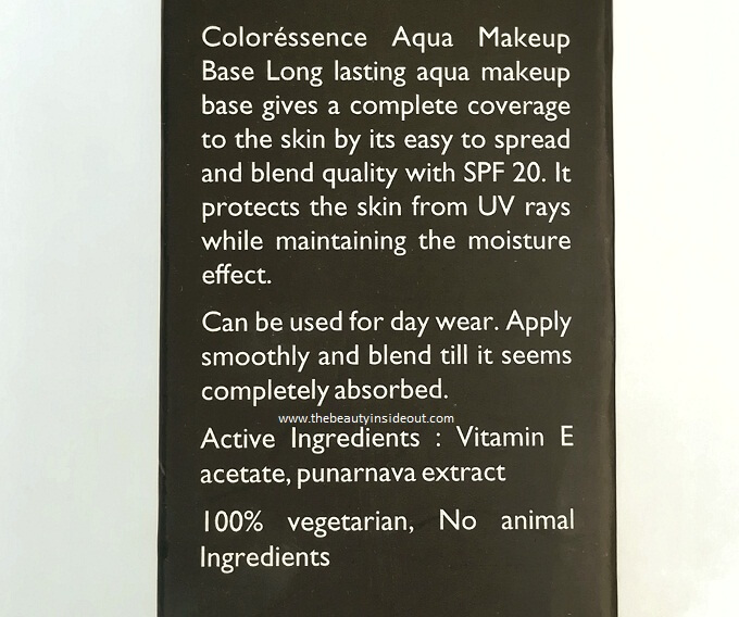 Coloressence Aqua Makeup Base Ingredients