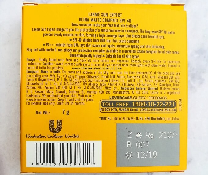 Lakme Sun Expert Ultra Matte Compact Ingredients Not Mentioned