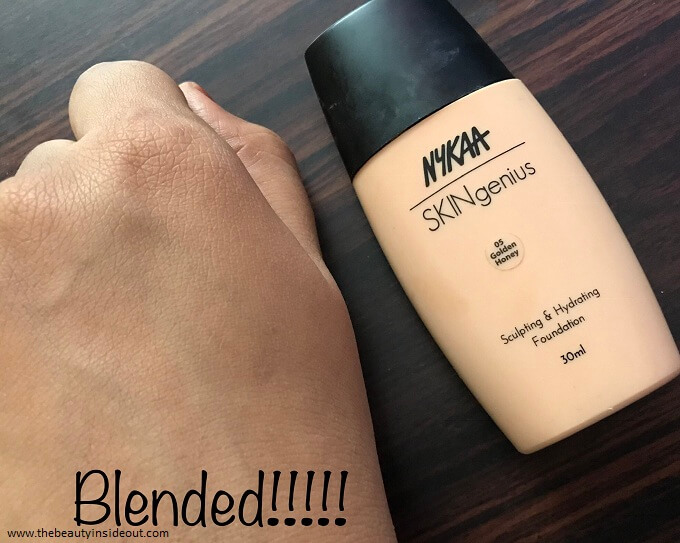 The Nykaa Skingenius Foundation Swatch Blended