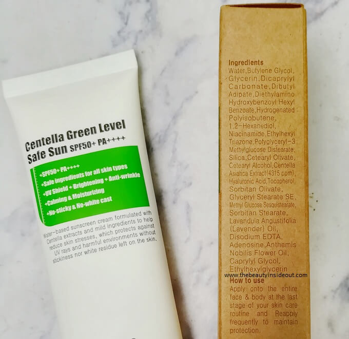 Purito Centella Green Level Safe Sun Ingredients
