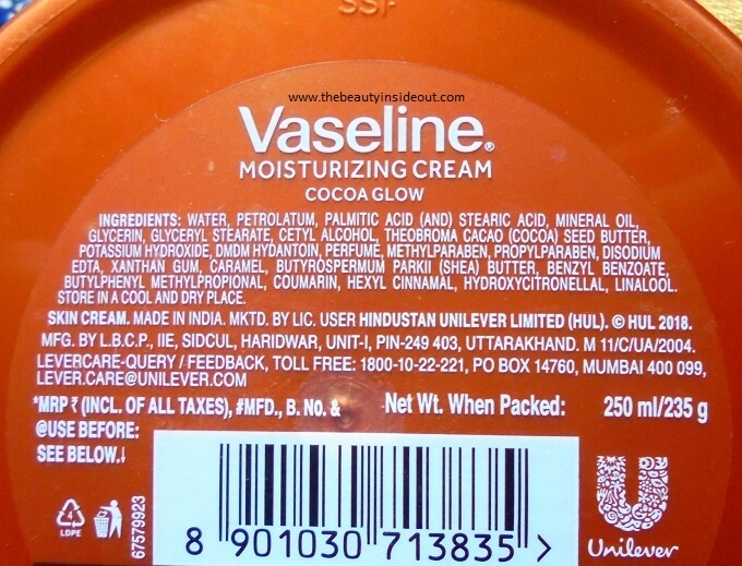 Vaseline Cocoa Glow Moisturizing Cream Ingredients