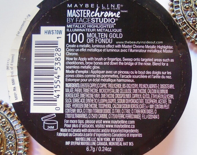 Maybelline Master Chrome Metallic Highlighter Molten Gold Product Details & Ingredients
