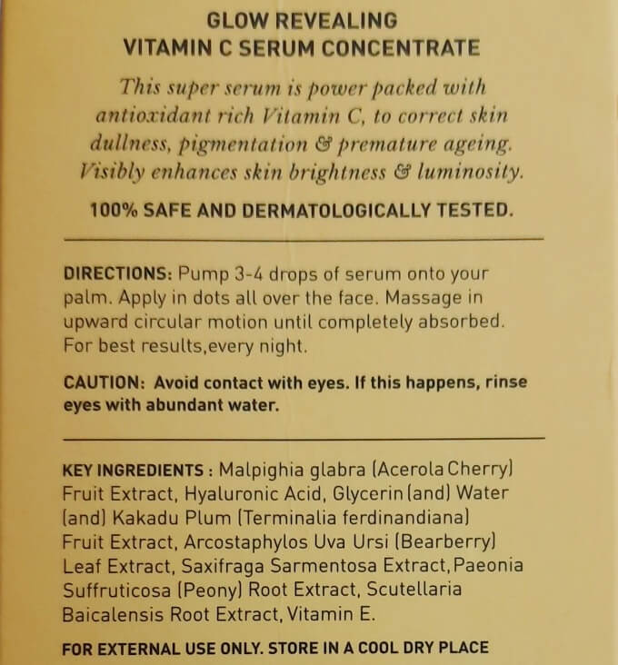 Dot And Key Vitamin C Serum Ingredients