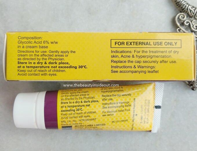 Glyco 6 Glycolic Acid Cream Ingredients