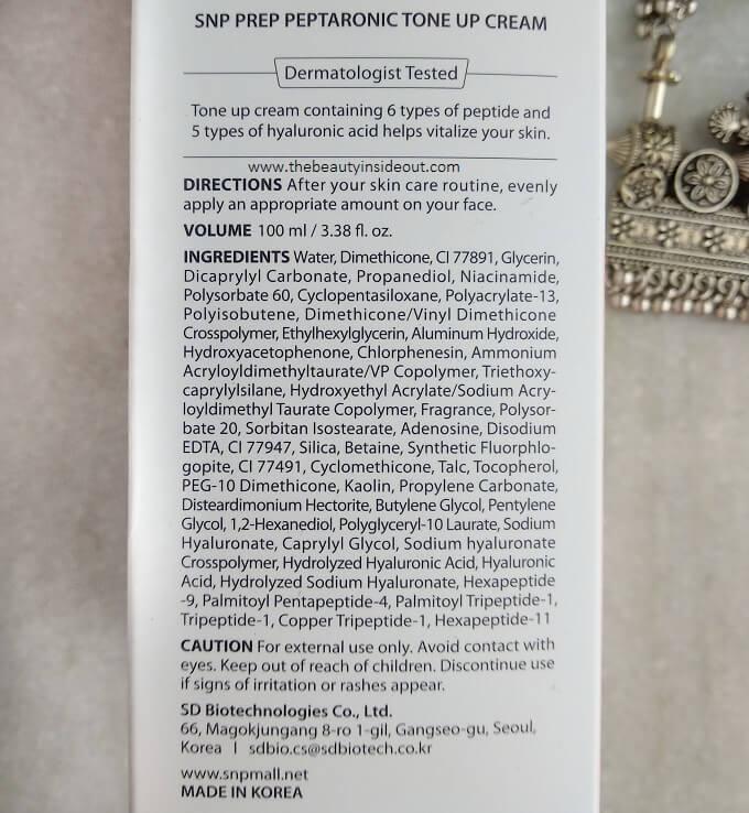 SNP Peptaronic Tone Up Cream Ingredients