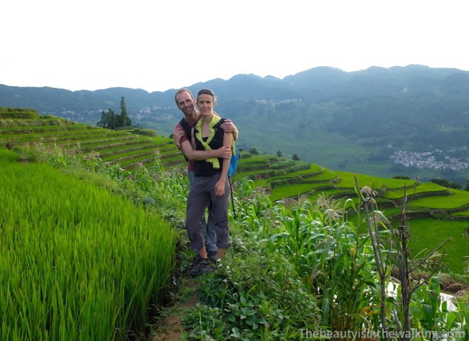 In the middle of the rice field terraces