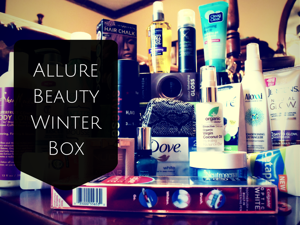 Allure 2014 Winter Beauty Box, filled with beauty, makeup, skincare, hair care products.