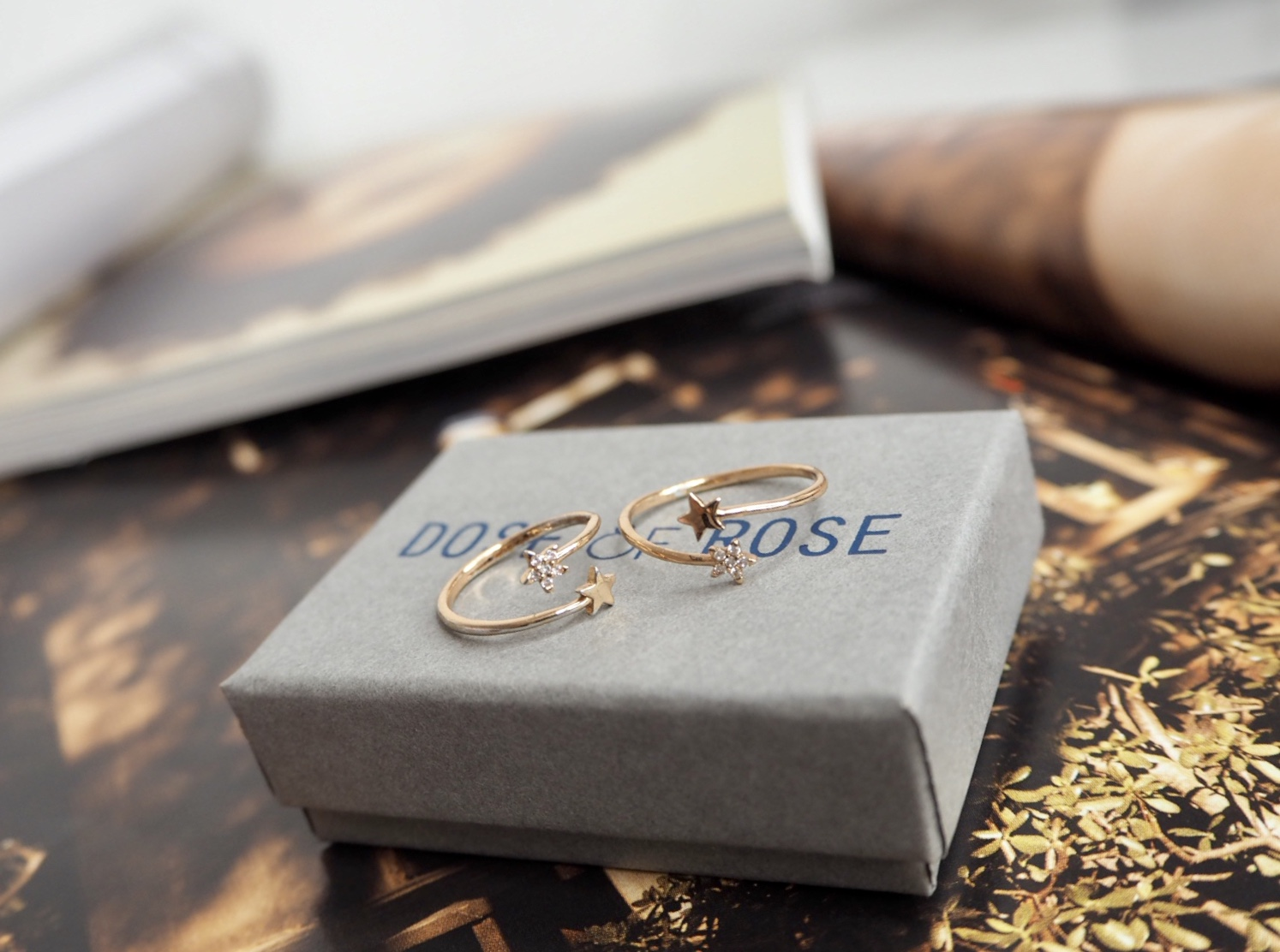 Dose of rose tiny star ring set