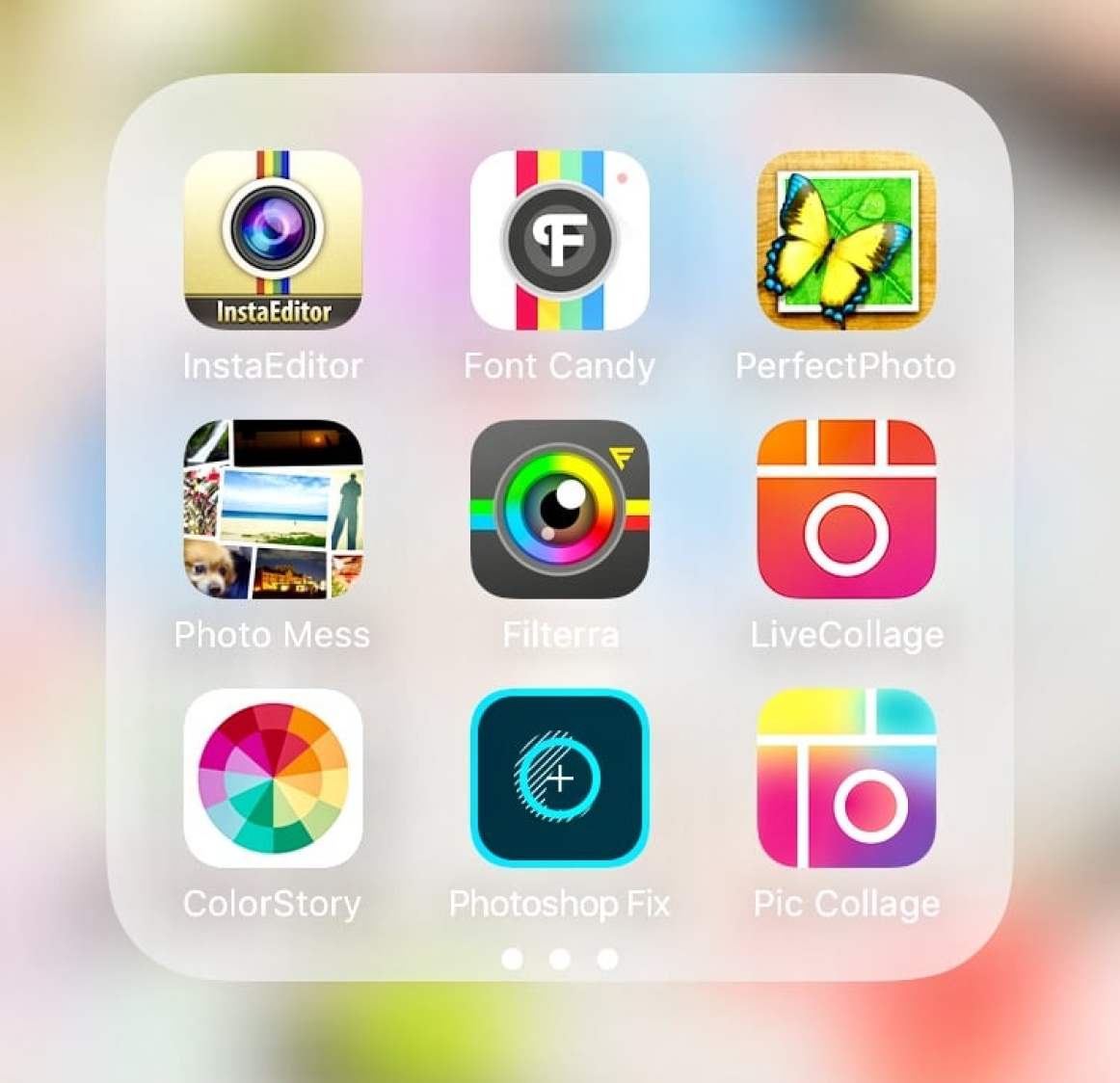 Image shows the photo editing apps I use