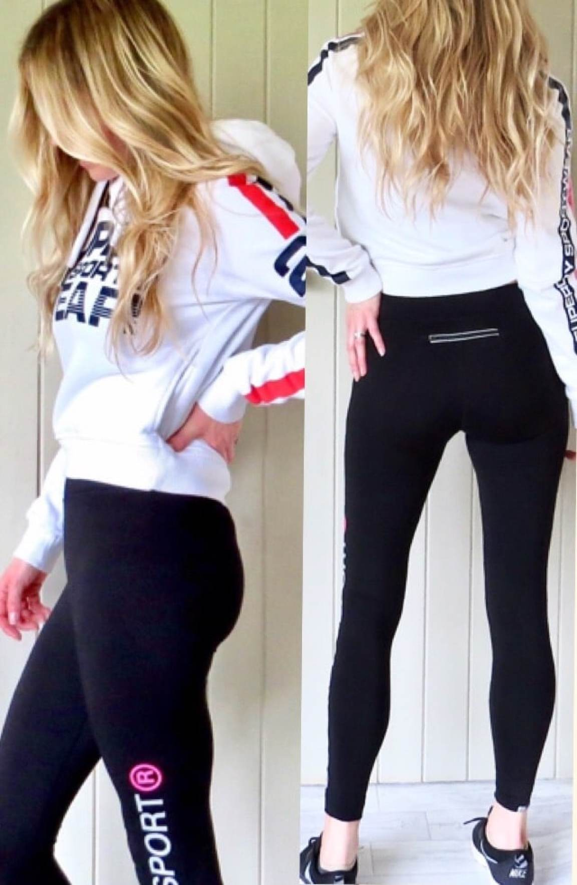 Samantha wearing the Superdry leggings