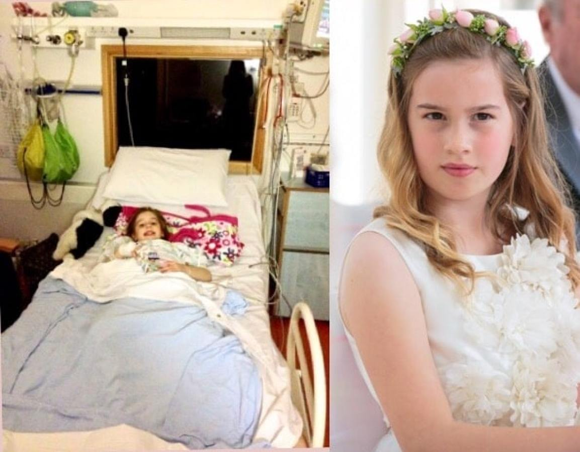 Samantha's daughter after her heart surgery and again being a flower girl at Samantha's wedding.