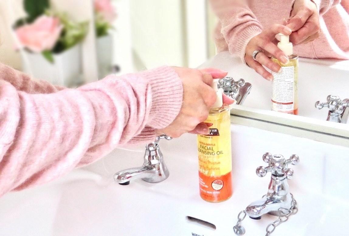 Samantha at the sink using the facial wash