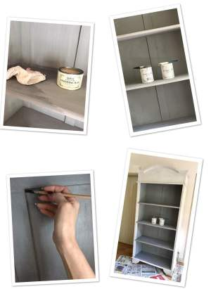 Shabby chic. image shows step by step stages of up cycling the bookcase.