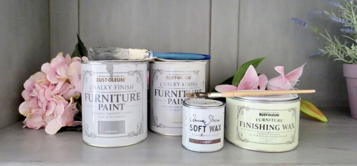 Shabby to Chic. image shows the Rust Oleum paint pots that I used.