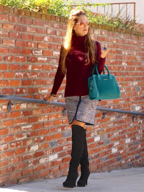 TURTLE NECK AND TWEED SKIRT