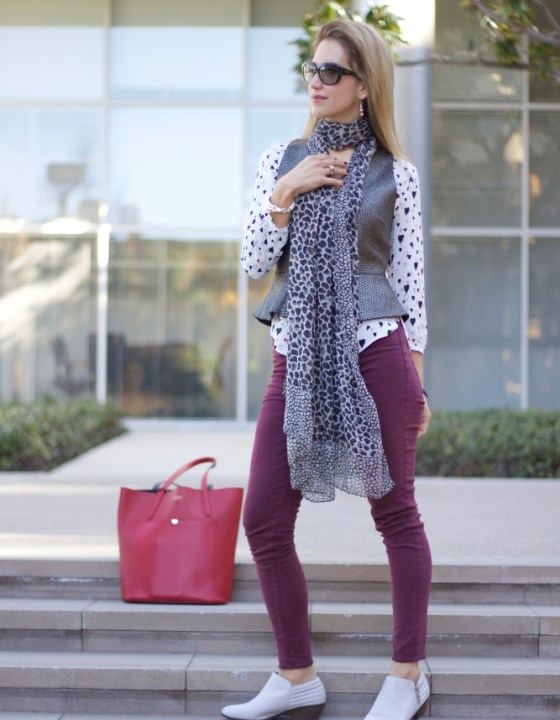 HEARTS BLOUSE & BURGUNDY BOTTOMS