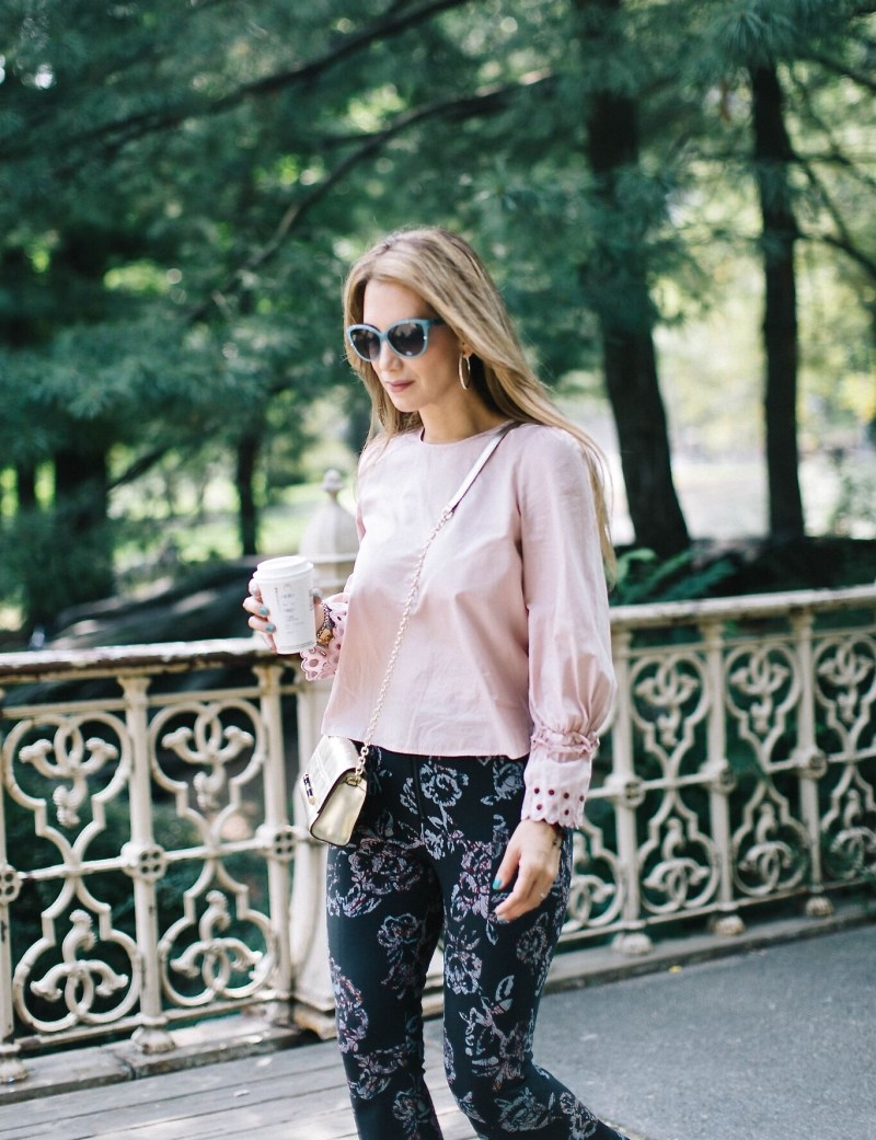 light pink blouse outfit