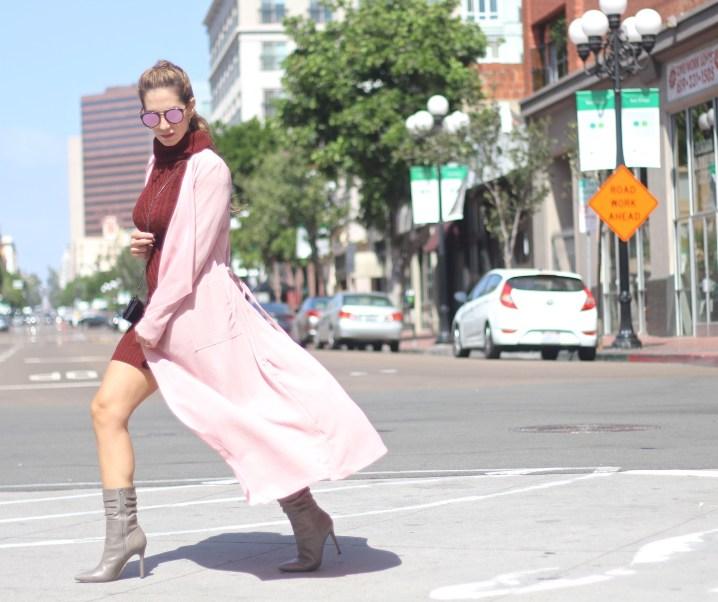 COLOR CRUSH // MAROON DRESS & PINK COAT