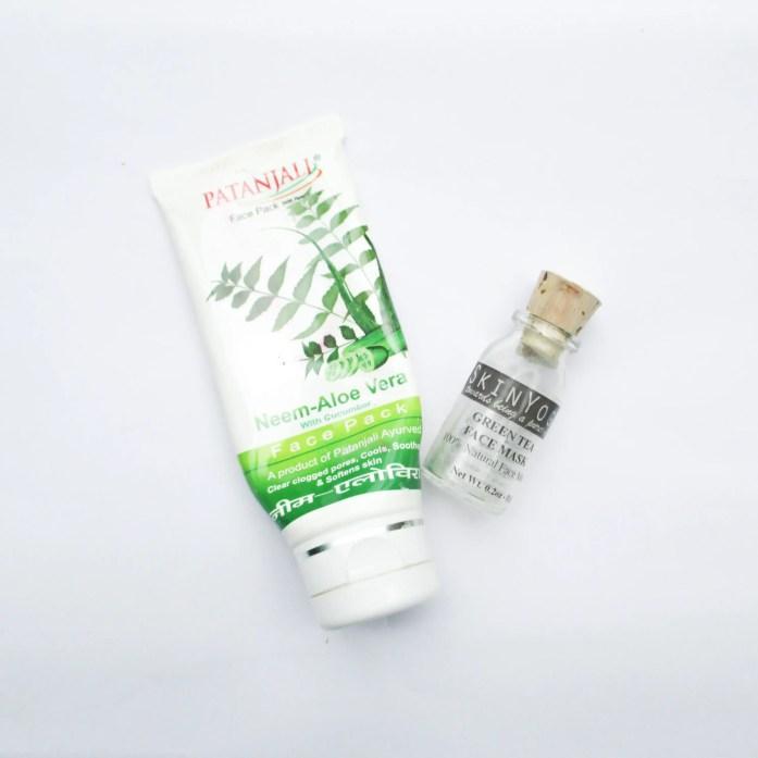 Patanjali Neem-Aloe Vera & Skin Yoga Green Tea Mask   June Empties