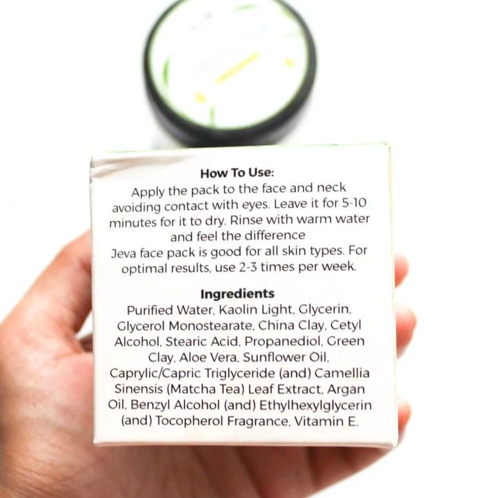 Jeva Green Tea Face Pack Ingredients