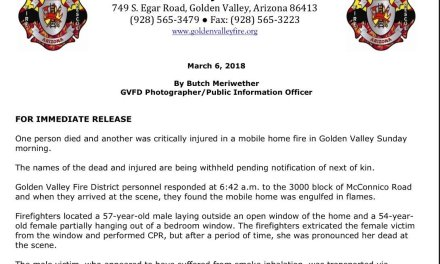 One person died and another was critically injured in a mobile home fire in Golden Valley Sunday morning.