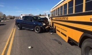 ** Injury Crash Involving School Bus and Pick-up **