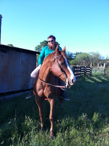 The Boyfriend, having his first ride on his new, old, horse, Leo. They did so well!