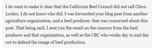 """I was forwarded your blog post from another agriculture organization and a beef producer"" (to be fair I'm not sure if this is true or not, the Beef Council never would be transparent with me about how this whole thing started (I would have LOVED some industry tranparency there!)) - again my own industry was attempting to censor me."