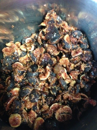 Chopped figs.