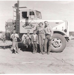 The Hopkins family pose with the Sierra Queen. L-R: Bill with our dog, Spike, Tom, Jim, Evelyn and Jack. c. 1959.