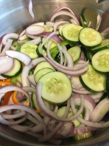 Sliced veggies enjoying their salt treatment.