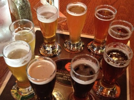 Sampler of Empyrean brews at Lazlo's. Really, is there any more beautiful sight than this?