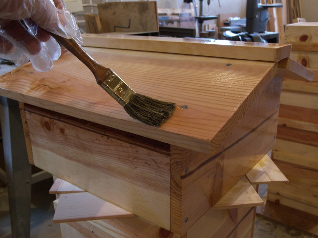 Applying Linseed Oil Finish to Warre Hive