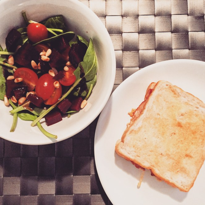 Croque-Monsieur with a Vegetable Salad - The Beginner Cookbook Recipe