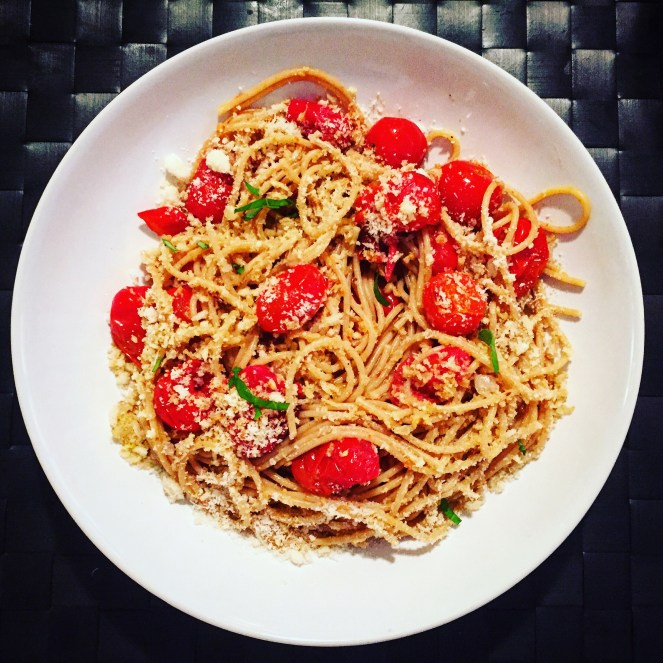 Spaghetti with Roasted Tomatoes and Garlic Breadcrumbs - The Beginner's Cookbook Recipe