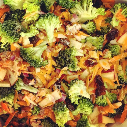 Broccoli Carrot Apple Salad with Walnuts and Raisins - The Beginner's Cookbook Recipe