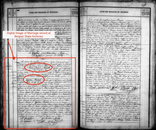 Digital image of the Martin-Bossel marriage record at the State Archives of Belgium.