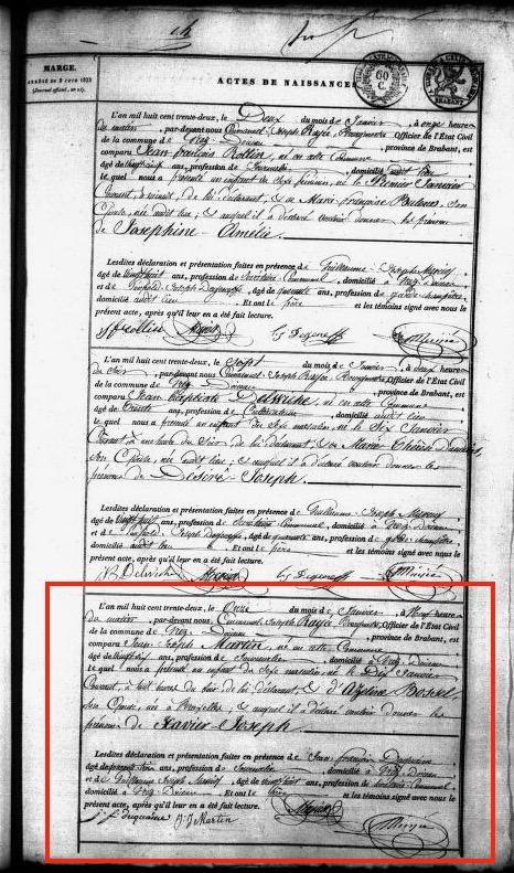 Birth Record for Xavier-Joseph Martin (1811) at the Belgian State Archives.