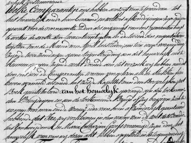 1832 Marriage Record for Benedictus Vanhoofydonck and Maria Catharina Greefs (detail 4)