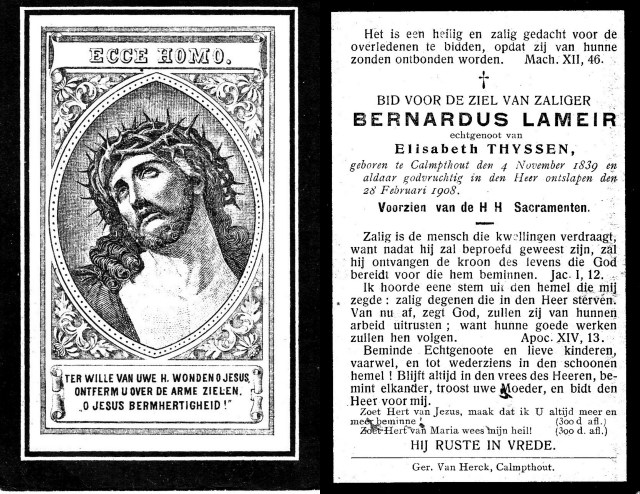 Image of memorial card for Bernardus Lameir. Shows front and back of card.