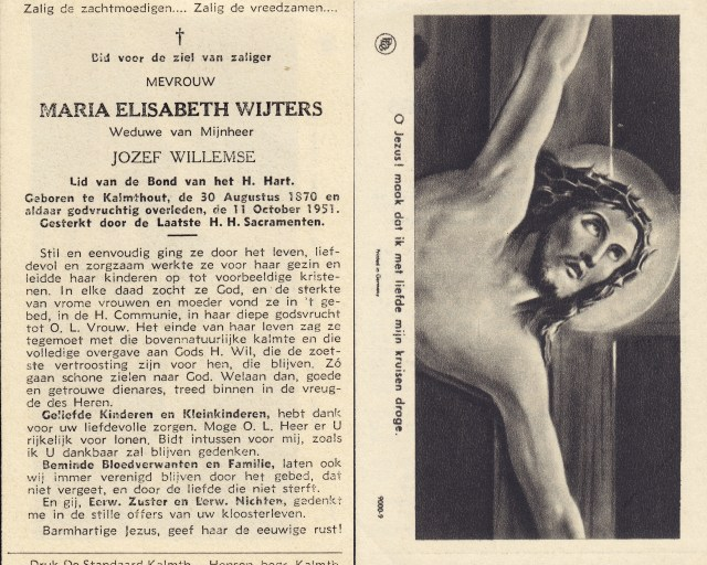 Memorial card of Maria Elisabeth Wijters. Shows both front and back.